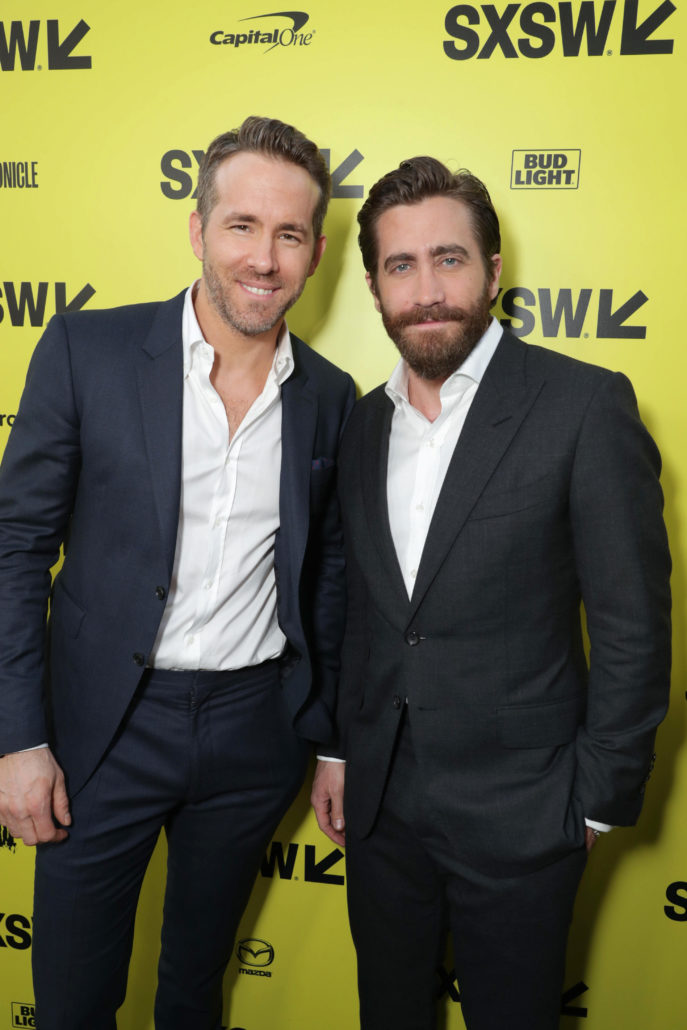 "Ryan Reynolds and Jake Gyllenhaal seen at Columbia Pictures World Premiere of ""Life"" the movie at SXSW 2017 on Saturday, March 18, 2017, in Austin, TX. (Photo by Eric Charbonneau/Invision for Sony Pictures/AP Images)"