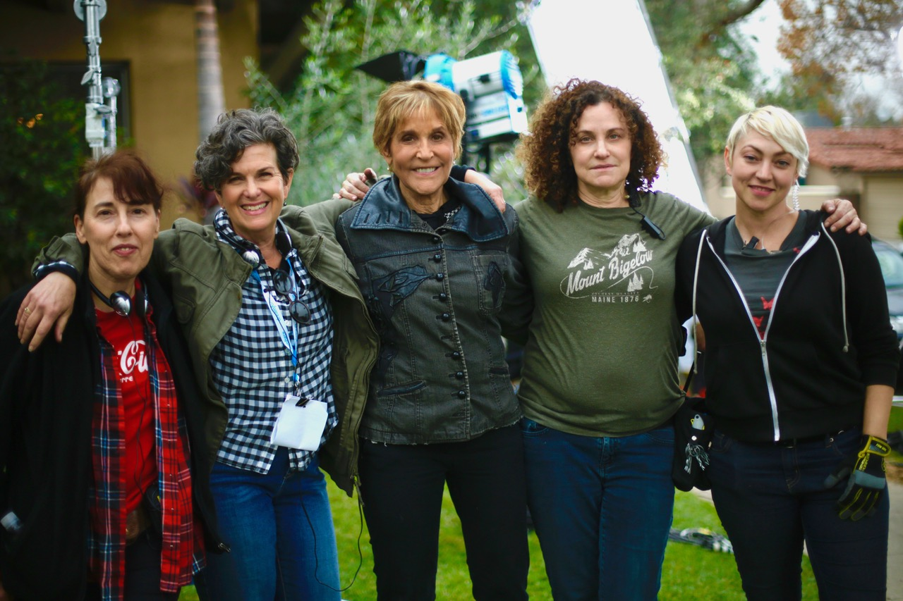 L-R Nancy Rae Stone (producer), Feldman (director/writer), Nancy Schreiber ASC (Cinematographer), Barbara Kallier (gaffer), Pony Gold (key grip.)