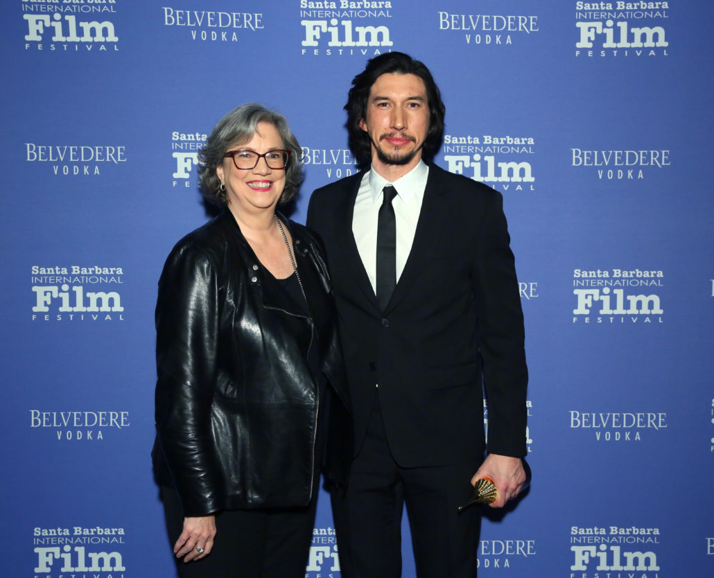 SANTA BARBARA, CALIFORNIA - JANUARY 17: Adam Driver (R) and Anne Thompson attend the Outstanding Performers Of The Year Award Honoring Scarlett Johansson And Adam Driver Presented by Belvedere Vodka during the 35th Santa Barbara International Film Festival at Arlington Theatreon January 17, 2020 in Santa Barbara, California. (Photo by Rebecca Sapp/Getty Images for SBIFF)
