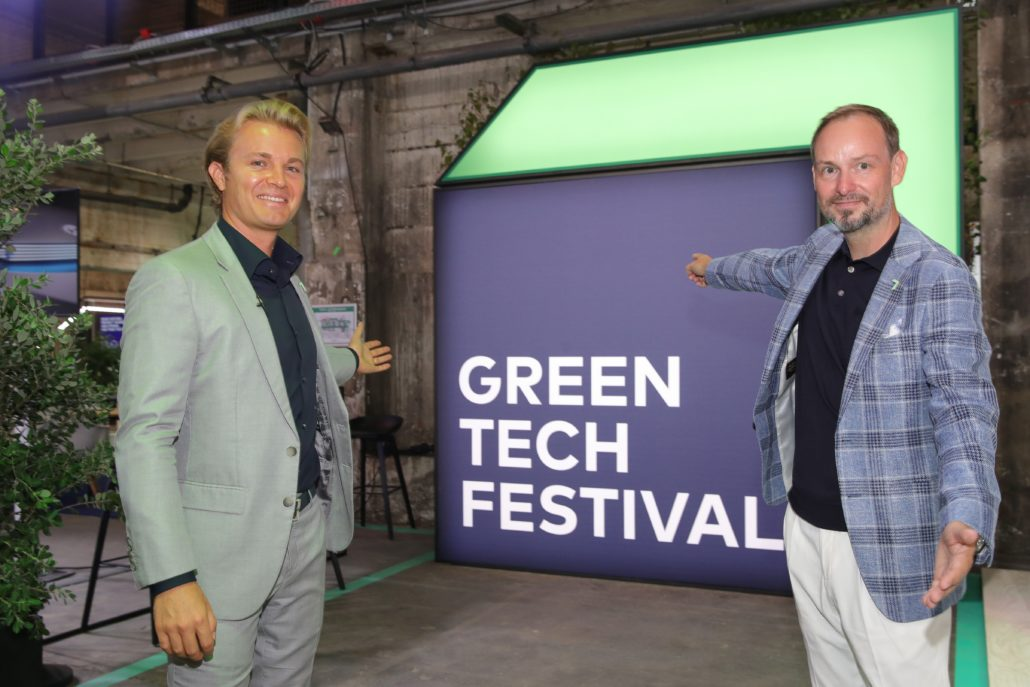 BERLIN, GERMANY - SEPTEMBER 16: Nico Rosberg and Marco Voigt pose during day 1 of the Greentech Festival at Kraftwerk Mitte on September 16, 2020 in Berlin, Germany. The Greentech Festival is the first festival to celebrate green technology and to accelerate the shift to more sustainability. The festival takes place from September 16 to 18. (Photo by Andreas Rentz/Getty Images for Greentech Festival)